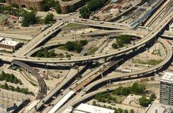 Чикаго, США - 4-ое июня 2018: Взгляд сверху на кресте пересечения Стоковые Изображения RF