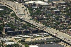 Чикаго, США - 4-ое июня 2018: Взгляд сверху на шоссе города в Ch стоковые изображения