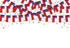Чили сигнализирует предпосылку гирлянды красную с confetti, овсянкой вида на чилийский национальный праздник иллюстрация штока