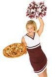 Чирлидер: Женщина задерживает пиццу и приветственные восклицания для команды Стоковые Фотографии RF