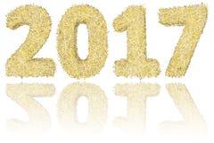 2017 чисел составленных золотых и серебряных нашивок на лоснистой белой предпосылке Стоковые Фотографии RF