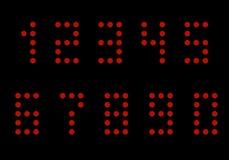 числа от 0 до 9 Красный диод Диаграммы вектор иллюстрация штока