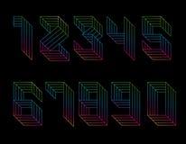 Числа установленные параллельных линий Стиль Мемфиса Градиент радуги Номера вектора от 1 до 9 иллюстрация штока
