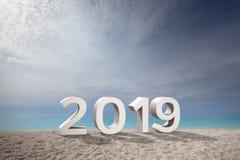 число 2019 вперед к будущему рядом с красивым морем стоковое изображение rf