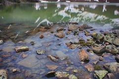 Чистая вода озера высокой горы Камни в воде Стоковое Фото
