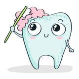 Чистить щеткой зуба шаржа на белизне Стоковые Фото