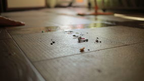 чистка делает женщину девушка очищая mop пола чистка сток-видео