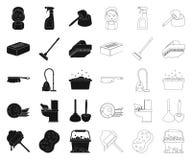 Чистка и горничная чернят, конспектируют значки в собрании комплекта для дизайна Оборудование для очищая сети запаса символа вект иллюстрация штока