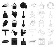 Чистка и горничная чернят, конспектируют значки в собрании комплекта для дизайна Оборудование для очищая сети запаса символа вект иллюстрация вектора