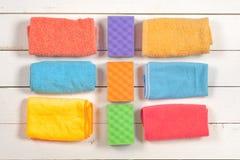 чистка Комплект wipes, губок, ведер для clea Стоковая Фотография