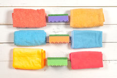 чистка Комплект wipes, губок, ведер для clea Стоковые Изображения RF