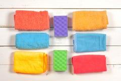 чистка Комплект wipes, губок, ведер для clea Стоковое Фото