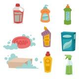 Чистки оборудования мытья заботы продукта домашнего хозяйства бутылки Cleanser иллюстрация вектора химической жидкостная плоская Стоковая Фотография