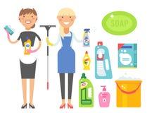 Чистки оборудования мытья заботы продукта домашнего хозяйства женщины Cleanser иллюстрация вектора химической жидкостная плоская Стоковое фото RF