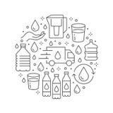 Чистое знамя круга вектора воды с плоской линией значками Фильтр Aqua, питьевая жидкость, стекло, вектор офиса более крутой бесплатная иллюстрация