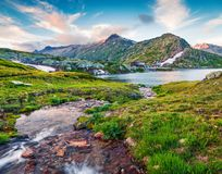 Чистое creec воды около озера Totensee на верхней части Grimselpas стоковое фото rf