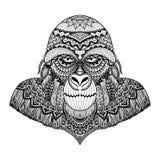 Чистые линии дизайн искусства doodle гориллы, для взрослой книжка-раскраски, вектор запаса графика футболки и так далее - иллюстрация штока