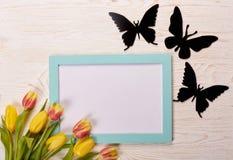 Чистый лист, бабочки и тюльпаны Стоковые Фотографии RF