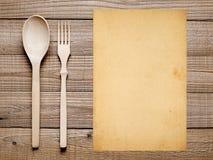 Чистый лист бумаги, вилка и ложка Стоковое Изображение
