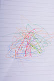 Чистый лист бумаги scribbled с карандашами цвета Стоковые Фотографии RF