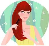 чистя щеткой волосы Стоковое Изображение RF