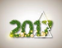 2017 численное от ели разветвляет с абстрактной рождественской елкой и бесплатная иллюстрация