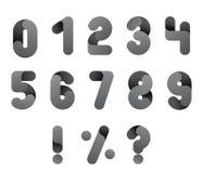 Числительное alphabeth Черно-белый комплект номера Изолированный вектор Стоковая Фотография