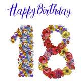 Число 18 сделанное из различных изолированных цветков на белой предпосылке надпись иллюстрации именниного пирога счастливая сдела Стоковое Фото