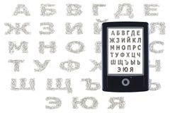 Читатель Ebook кириллический Стоковое Изображение RF