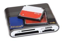 Читателя дуо госпожи md mmc память микро- sd m2 sd карточки Cf multi для кулачка Стоковое фото RF