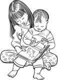 Читать детей иллюстрация вектора