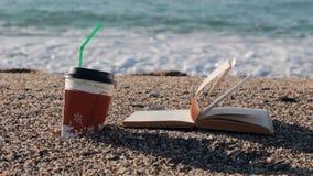 Читающ книгу и выпивать кофе около моря акции видеоматериалы