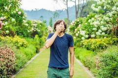 Чихание молодого человека в парке на фоне цветя дерева Аллергия к концепции цветня стоковая фотография rf
