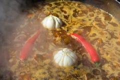 Чили и чеснок сваренные в котле Стоковое фото RF