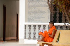 Чтение буддийского монаха вне виска Стоковое Изображение RF
