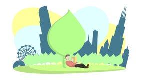 Чтение в парке города иллюстрация вектора