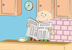 чтение газеты людей кофе выпивая старое Стоковые Фотографии RF