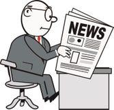чтение газеты человека шаржа бесплатная иллюстрация