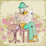 чтение газеты человека кофе выпивая бесплатная иллюстрация