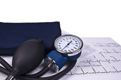 чтение давления контроля ekg крови стоковое изображение