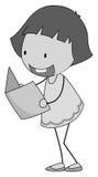Чтение девушки в черно-белом Стоковое Изображение