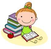 чтение девушки книги милое иллюстрация вектора