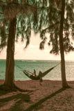 Чтение женщины в гамаке самостоятельно Стоковое Фото