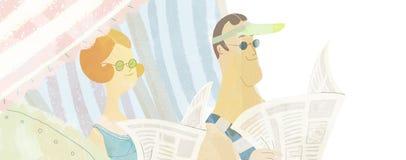 Чтение обстрагивать на пляже Иллюстрация вектора