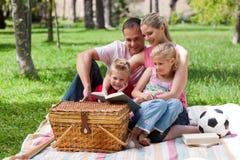 чтение парка семьи счастливое стоковые фотографии rf