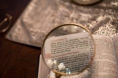 Чтение Священного Писания с увеличивает стекло Стоковые Фотографии RF