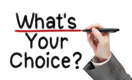 Что ваш выбор Человек писать вопрос Стоковые Фотографии RF