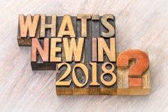 Что ново в конспекте 2018 слов в деревянном типе Стоковое Изображение RF