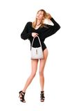 Чувственная дама с белым портмонем стоковое фото rf