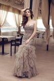 Чувственная женщина с длинными темными волосами в роскошном платье sequin Стоковое Изображение RF
